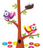Print Mantras Wall Stickers Beautiful Birds and Nest on a Tree