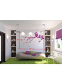 Print Mantras Wall Stickers Beautiful Purple Owls on Tree Branches