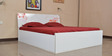Queen Bed with Storage in White & Orange Colour by Parin