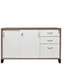 Quantum Storage Cabinet with Sliding Shutter & Three Drawers in Chocolate Sawline & Water Lily Colour by Crystal Furnitech