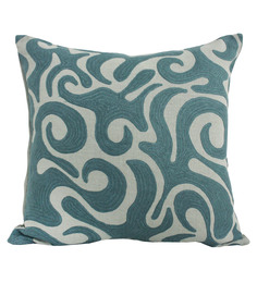 R Home Blue Linen 20 X 20 Inch Indian Ethnic Cushion Cover