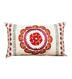 R Home White Cotton 20 X 12 Inch Embroidered Cushion Cover