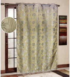 R Home Gold Polyester 45 X 85 Inch Jacquard Eyelet Door Curtain
