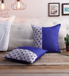 RangDesi Blue Silk 16 X 16 Inch Bagh Patch Cushion Covers - Set Of 2
