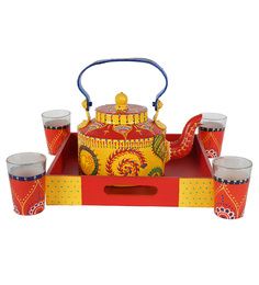 Rangrage Colourful Tradition MDF And Metal Kettle Set - Set Of 6