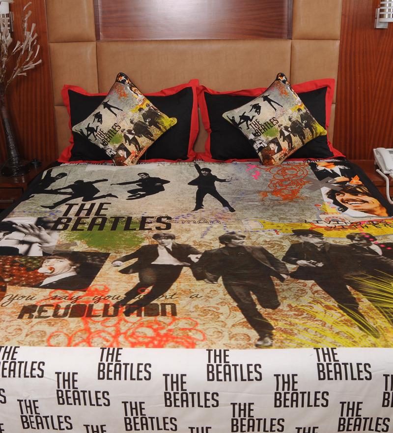 Rasberrie Beatles Theme Digital Printed Double Bedsheet