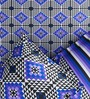 Rago Pop Purple & Blue Cotton Abstract Bed Sheet Set (with Pillows)