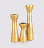 Rajrang Gold Wooden Wave Hand Painted Candle Holder - Set of 3