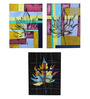 Rang Rage Canvas 16 x 2 x 20 Inch Contrasting Maple Leaves Framed Art Panels - Set of 3