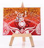 Rang Rage Canvas 8 x 1 x 6 Inch Classy Majestic Durga Stretched Framed Painting with Easel Stand