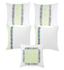 Rang Rage Olive Cotton 16 x 16 Inch Fest Hand-Painted Cushion Covers - Set of 5