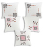 Rang Rage Multicolour Cotton 16 x 16 Inch Hand-Painted Mughal Cushion Covers - Set of 5