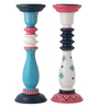 Rang Rage Multicolour Mango Wood Classic Floral Ikat Hand Painted Candle Holder - Set of 2