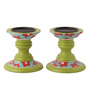Rang Rage Multicolour Mango Wood Summer Reprise Hand Painted Candle Holder - Set of 2
