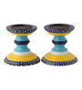 Rang Rage Multicolour Mango Wood Vintage Mughal Hand Painted Candle Holder - Set of 2