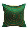 Rang Rage Green Poly Silk 16 x 16 Inch Handcrafted Circle Cushion Covers - Set of 2