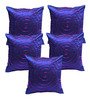 Rang Rage Blue Poly Silk 16 x 16 Inch Handcrafted Circle Cushion Covers - Set of 5