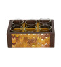 Rang Rage Textured Serving 120 ML Tea Glasses with Multicolour Wooden Tray - Set of 6