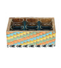 Rang Rage Tribal Classics Serving 120 ML Tea Glasses with Multicolour Wooden Tray - Set of 6