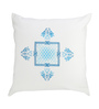 Rang Rage White & Blue Cotton 16 x 16 Inch Hand-Painted Flow Cushion Covers - Set of 2