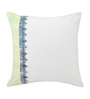 Rang Rage White & Green Cotton 16 x 16 Inch Hand-Painted Cushion Covers - Set of 3