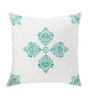 Rang Rage White & Green Cotton 16 x 16 Inch Hand-Painted Designer Cushion Covers - Set of 2