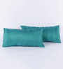 RangDesi Green Silk 18 x 9 Inch Solid Cushion Covers - Set of 2