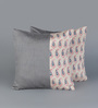 RangDesi Grey Silk 16 x 16 Inch Bagh Patch Cushion Covers - Set of 2