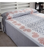 Ratan Jaipur Blue and White Cotton Queen Size Bed Cover