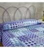 Ratan Jaipur Blue Cotton Queen Size Bed Cover
