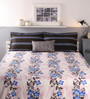 Raymond Home Blue and Pink Cotton Queen Size Bed sheet - Set of 5