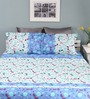 Raymond Home Blue Cotton Queen Size Silverleaf Bed Sheet with 2 Pillow Covers