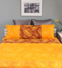 Raymond Home Mustard Cotton Queen Silverleaf Bed sheet with 2 Pillow Covers