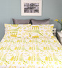 Raymond Home Olive Cotton Queen Size Silverleaf Bed Sheet with 2 Pillow Covers