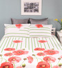 Raymond Home Red Cotton Queen Size Silverleaf Bed Sheet with 2 Pillow Covers