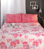 Raymond Home Reds Nature & Florals Cotton Queen Size Bed Sheets - Set of 3