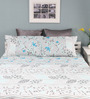 Raymond Home Turquoise Cotton Queen Silverleaf Bed Sheet with 2 Pillow Covers