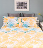 Raymond Home Yellow Cotton Queen Size Silverleaf Bed Sheet with 2 Pillow Covers