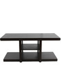 Rectangular Coffee Table with Two Green Cushioned Stools by ARRA