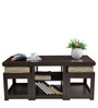 Rectangular Coffee Table with Two Jute Cushioned Stools by ARRA