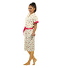 Red Rose Cream & Pink Cotton 43 x 21 Inch Floral Print Bathrobe
