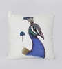Reme Blue Cotton 16 x 16 Inch Embellished Cushion Cover - Set of 2