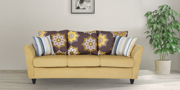 Rio Brilliance Three Seater Sofa In Yellow Colour By Urban Living
