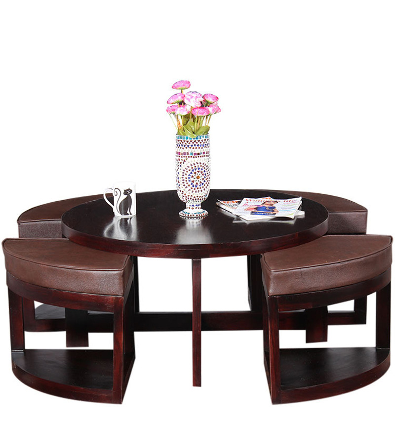 Round Coffee Table with Stools by Mudramark Online ...