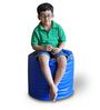 Round Ottoman (Cover Only) L size in Blue & Yellow Piping Colour  by Style Homez