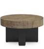 Round Center Table with Granite Look & Black Base by FurnitureTech