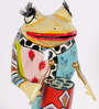 Rural Craft Multicolour Iron Frog Playing Drum Showpiece