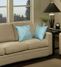 S9Home By Seasons Blue Polyester 16 X 16 Inch Traditional Cushion Cover With Piping - Set Of 2 - 1540408