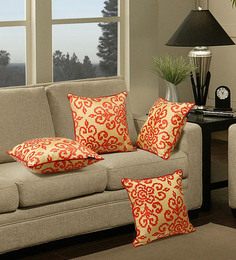 S9Home By Seasons Gold & Orange Polyester 16 X 16 Inch Contemporary Cushion Cover With Piping - Set Of 4