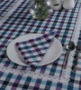 S9home by Seasons Blue Poly Cotton 6-seater Table Cover and Napkin 7-piece Set
